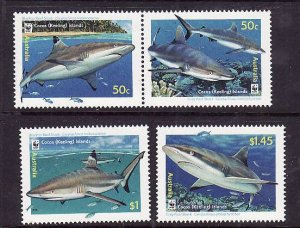 Cocos (Keeling) Is.-Sc#341-3-unused NH set-Sharks-Marine Life-WWF-2005-