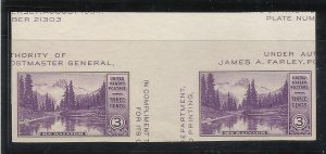 770a   3c Imperforate Pair w/Vertical Gutter MNH, VF Centering