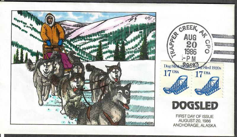 US Collins FDC SC#2135 Dogsled