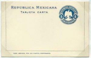MEXICO 5c lettercard 1899 fine optd MUESTRA ...............................58754