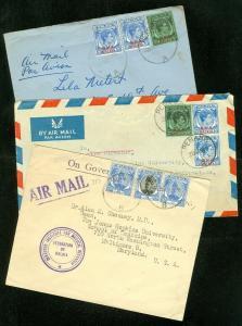 EDW1949SELL : MALAYA 3 nice Air Mail covers to USA.