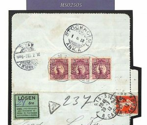 FRANCE Letter-Card SWEDEN POSTAGE DUES 1913 Sower LOSEN {samwells-covers}MS2505