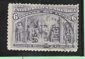 US#235 6c Columbian Exposition (U) CV $25.00