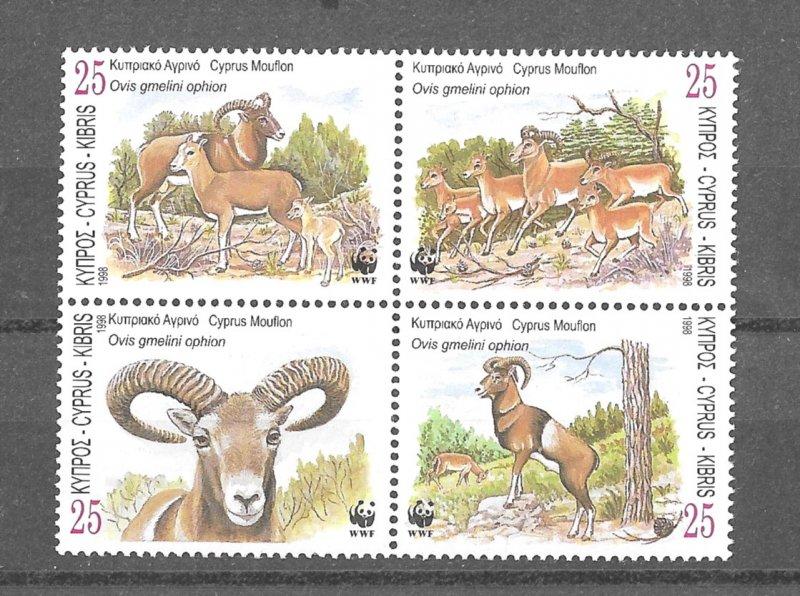 Cyprus MNH Block Animals Cyprus Moulton WWF 1988