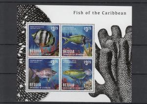 Bequia Grenadines St Vincent 2013 MNH Fish of Caribbean 4v M/S Wrasse Mojarra