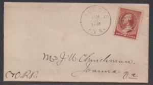 **US 19th Century Cover Scott #210, Snoope, VA 1/18/1886 Carried by C & O RR