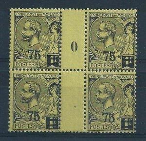 1924 Monaco, N° 72 Thousandth 0+ Pair With Interspazio MNH