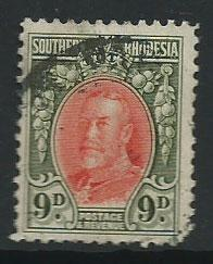 Southern Rhodesia SG 21b  clipped corner perfs good  used