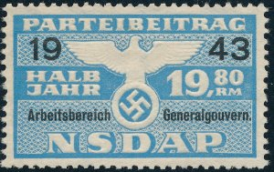 Stamp Germany Revenue Poland WWII 1943 3rd Reich Nazi Era Party Due GG 19.80 MNG