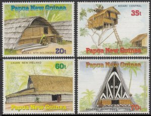 Papua New Guinea MNH 593-6 Thatched Houses 1989