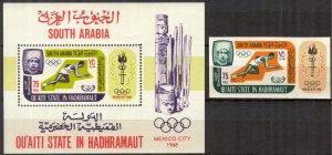 {AH002} ADEN / Hadhramaut 1967 Olympics Mexico 1968 MNH**Mi.:107B Bl.7 19 Eur.