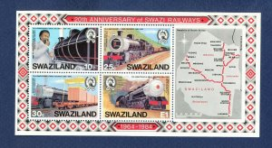 SWAZILAND  - Scott 464a - FVF MNH S/S  - Trains, Map - 1984
