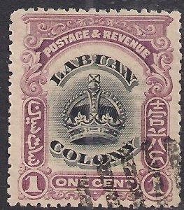 Labuan North Borneo 1902 - 03 KEV11 1ct Black & Purple used SG 117 ( J1084 )