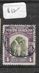 NORTH BORNEO (P0306B) 4C MONKEY  PAQUEBOT CANCEL  VFU