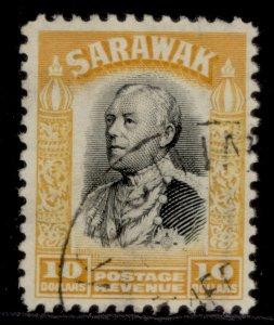 SARAWAK GV SG125, $10 black & yellow, FINE USED. Cat £85.