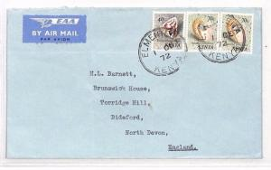 KENYA *Elmenteita* CDS Commercial Airmail Cover Devon{samwells-covers} 1972 XX88