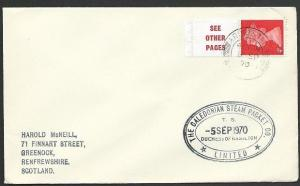 GB SCOTLAND 1970 Cover Clyde Steamer cachet T.S. DUCHESS OF HAMILTON.......48225