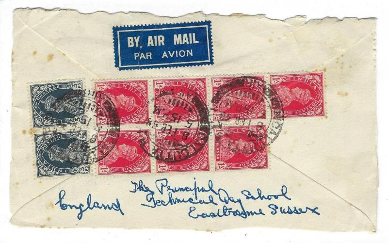 1938 British India To Great Britain Cover - 9 Stamps (LL11)
