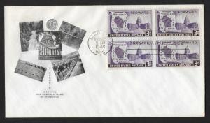 UNITED STATES FDC 3¢ Wisconsin Centennial BLOCK 1948 Fulton