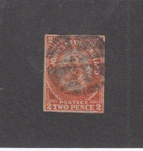 NEWFOUNDLAND (MK6786) # 11 VF-USED 2p 1860  ST JOHN'S IMPERF /ORANGE  CV $600