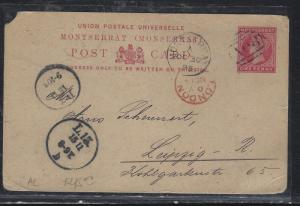 MONTSERRAT  (PP2107B)  QV 1D PSC 1895 A08 TO GERMANY WITH MSG. UL CORNER NIB