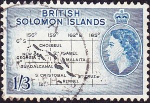 BRITISH SOLOMON ISLANDS 1960 QEII 1/3 Black & Blue SG92b FU