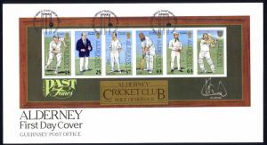 Alderney Sc# 105a FDC Souvenir Sheet 1997 Past Times Cricket