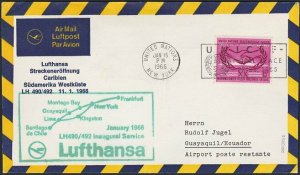 UNITED NATIONS / USA 1966 Lufthansa first flight to Lima - Ecuador..........H273