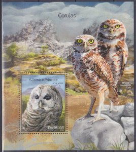 2014 Sao Tome and Principe 5598/B978 Owls 10,00 €
