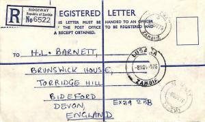 Zambia *RIDGEWAY* Registered Letter Devon {samwells-covers} 1976 LL259