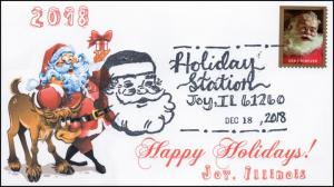 18-356, 2018, Christmas, Pictorial Postmark, Event Cover, Joy IL, Santa,