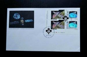 RARE CANADA 3-D HOLOGRAM SILVER PRINT SPACE SATELLITE STAMPS 1ST DAY COVER UNIQU