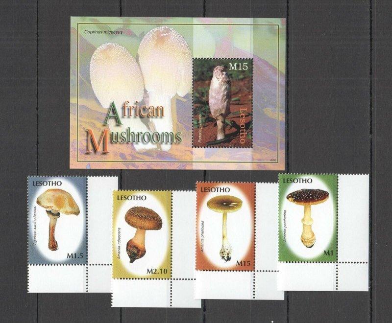 QQ0058 2007 LESOTHO AFRICAN MUSHROOMS FLORA NATURE BL+SET MNH