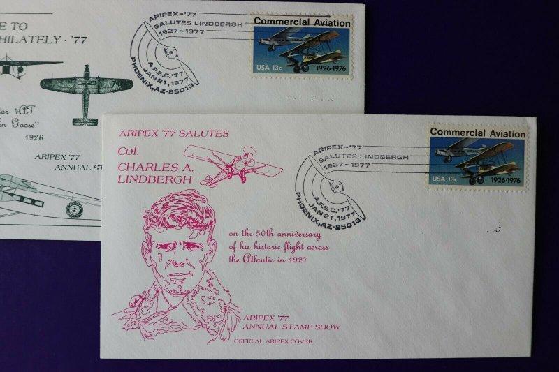 ARIPEX 1977 Philatelic show souvenir cachet cover Charles Lindbergh 50th sc#1684