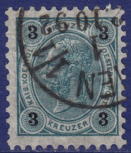 Austria - 1890 - Scott #53 - used - Franz Josef - sheet perf 10 1/2