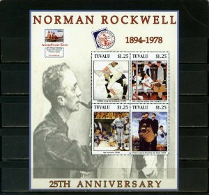 TUVALU 2003 PAINTINGS BY NORMAN ROCKWELL SHEET OF 3 STAMPS MNH