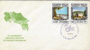 Costa Rica Natl Park Service,Poas Volcano,Cahuita Beach Sc C786-C787 FDC 1980