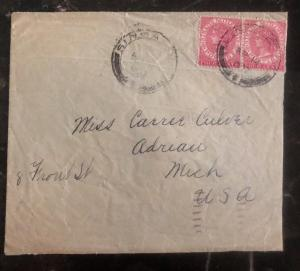 1892 Singapore Straits Settlements Cover To Adrian MI USA Via New York