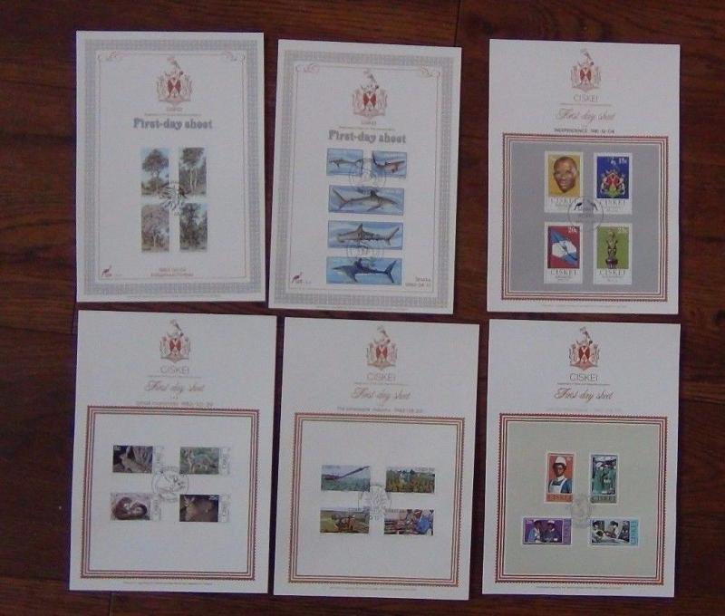 Ciskei 6 New Issue Sheets 1983 Sharks Trees 1982 Pineapple Mammals 1981 Independ