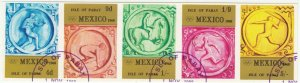 Cinderellas; Pabay, Scotland, Mexico Olympics Imperf CTO Strip Of 5 To 5/-, 1968