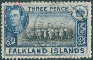 Falkland Islands 1938 SG153 3d black and blue Flock of Sheep KGVI FU