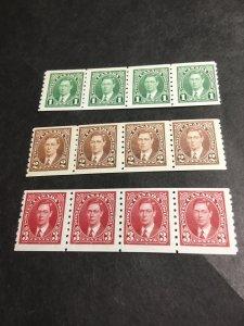 Canada #238-240 Mint Cpl.F-F+NH 2016 Sc.Cat. $105. KGVI Coils  1937 KGVI Strips