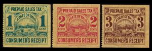 UNITED STATES REVENUE STATE OF OHIO VINTAGE CONSUMER'S TAX RECEIPT SET 3 STAMPS
