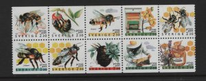SWEDEN  1819-1828, Booklet pane, MNH, 1990 Apiculture