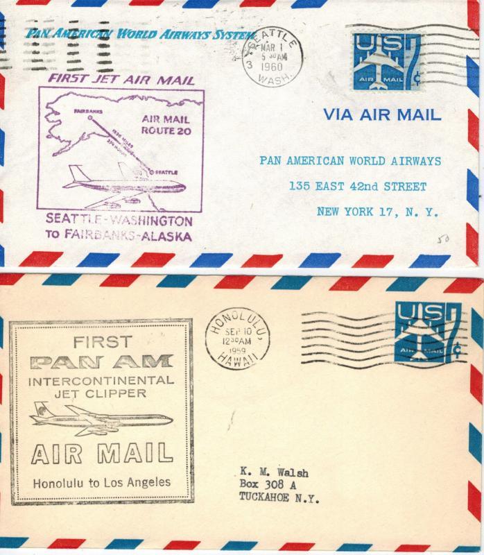 Airmail First Flight Pan Am American SET OF 2 Hawaii 1959 and WA to Alaska 1960
