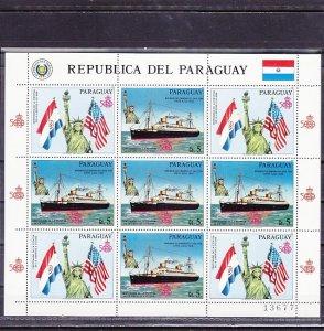 Paraguay, Scott cat. 2179. Statue of Liberty & Ships sheet of 5 & 4 labels. ^