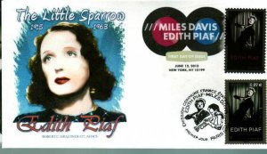 Graebner Chapter AFDCS 4692 Edith Piaf Color Cancel Joint Issue France Stamp