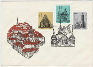 Lithuania 1993 Town Illustration Buildings Stamps FDC Cover Ref 29597