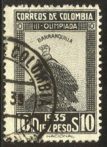 COLOMBIA #436 SCARCE Used - 1935 10p Condor