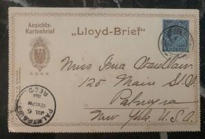 1904 Gibraltar Lloyd Lines Steamer Postcard Cover To Palmway NY USA  MXE